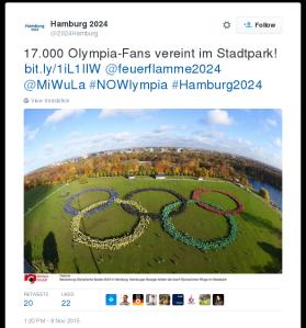 Offizieller Twitteraccount der Bewerbungsgesellschaft Hamburg 2024 GmbH: 17.000 Menschen